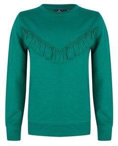 Groene trui ruffle (Indian Blue Jeans)